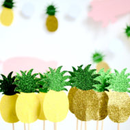 glitter-pineapple-cupcake-toppers-baby-shower-decoration