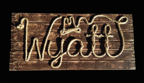western themed baby shower rope sign