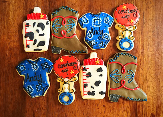 western baby shower cookies
