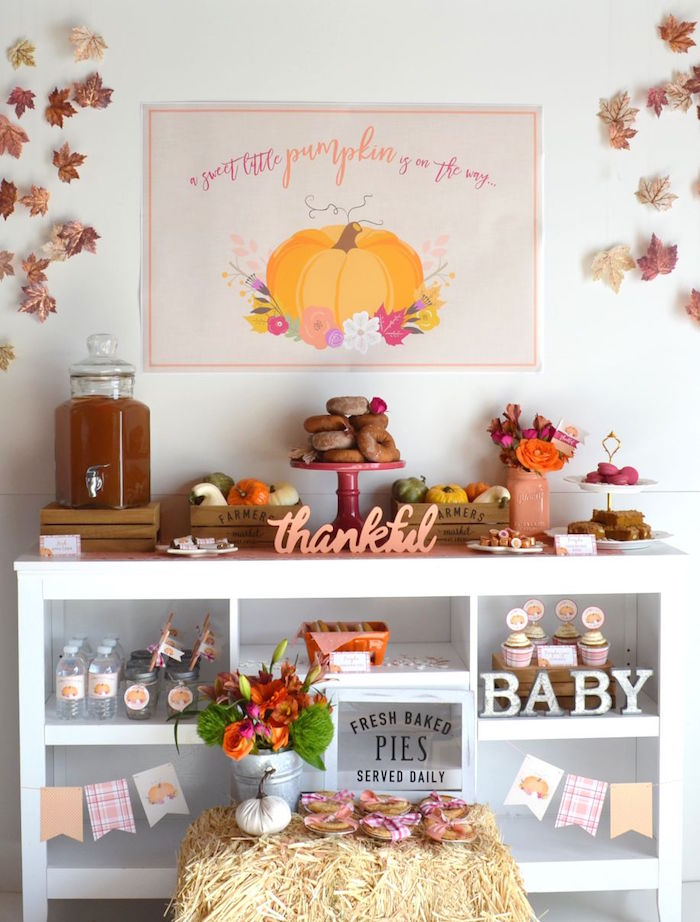 sweet-little-pumpkin-baby-shower-donut-table