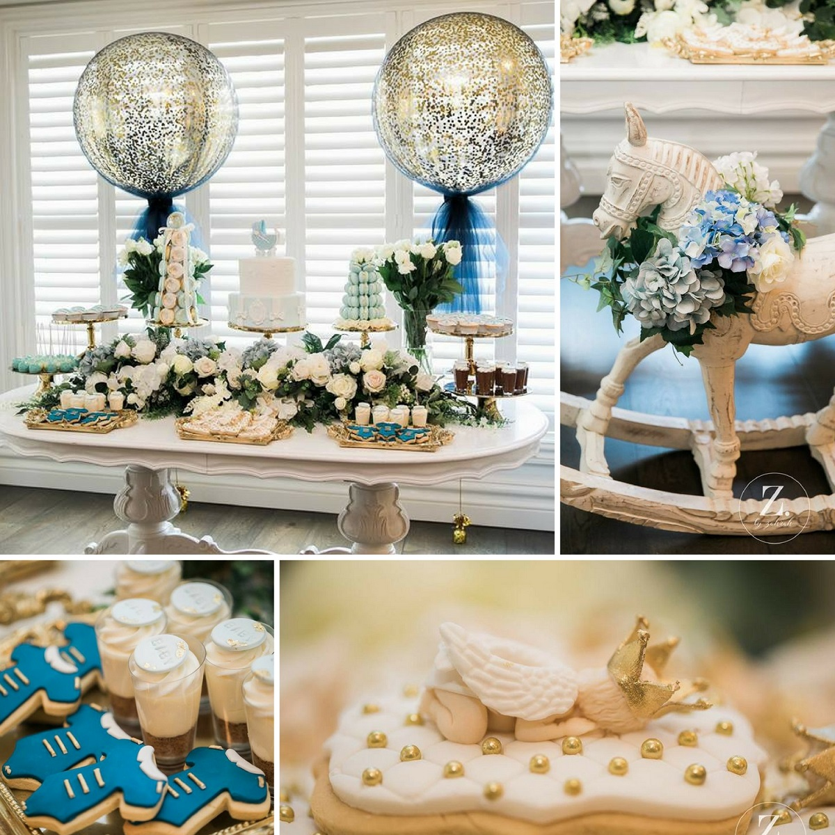 Elegant Blue and Gold Prince Baby Shower - Baby Shower ...