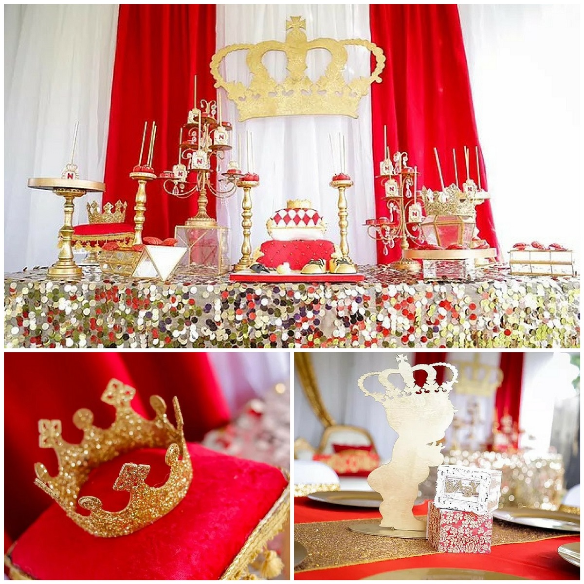 Red And Gold Royal Affair Baby Shower Ideas