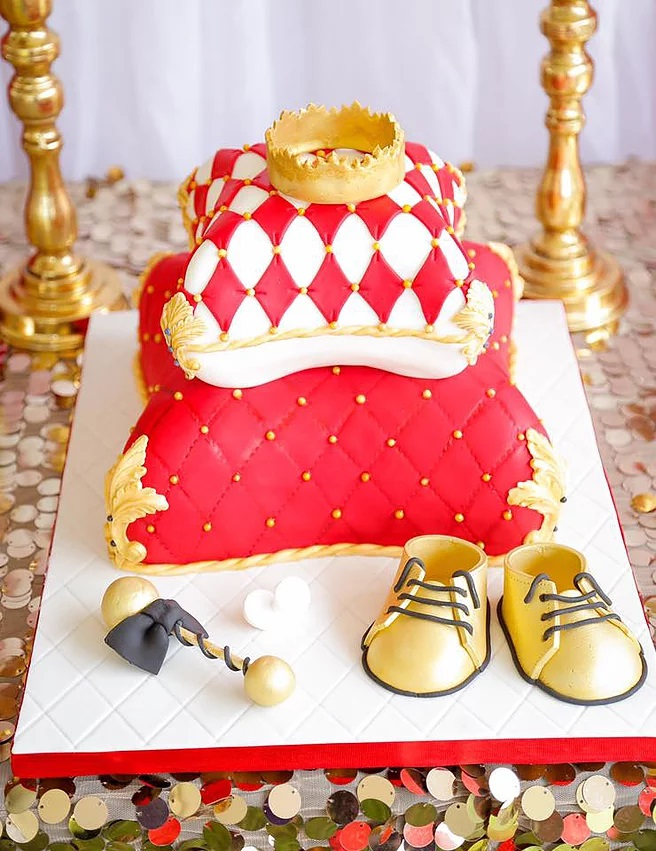 Red And Gold Royal Prince Baby Shower Cake