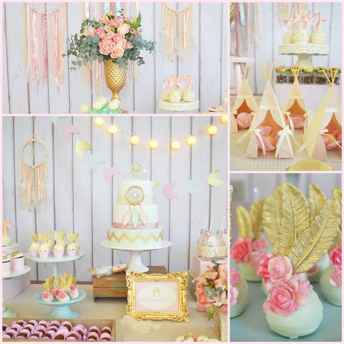 pastel boho chic party baby shower ideas themes games. Black Bedroom Furniture Sets. Home Design Ideas