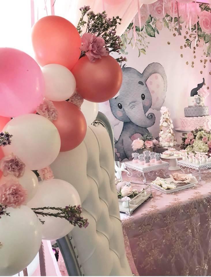 Pink elephant baby shower ideas