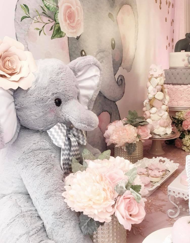 Pink And Gray Elephant Baby Shower Baby Shower Ideas Themes Games