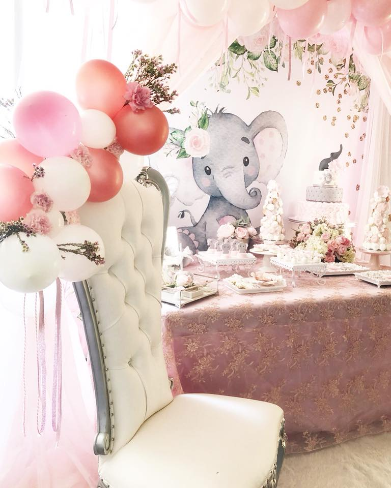 Pink And Gray Baby Shower Table Decorations