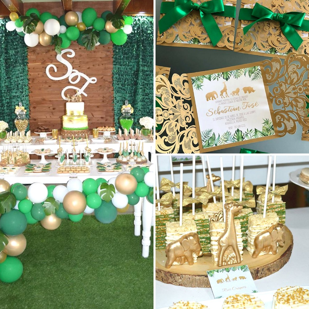 Gold And Hunter Green Safari Baby Shower