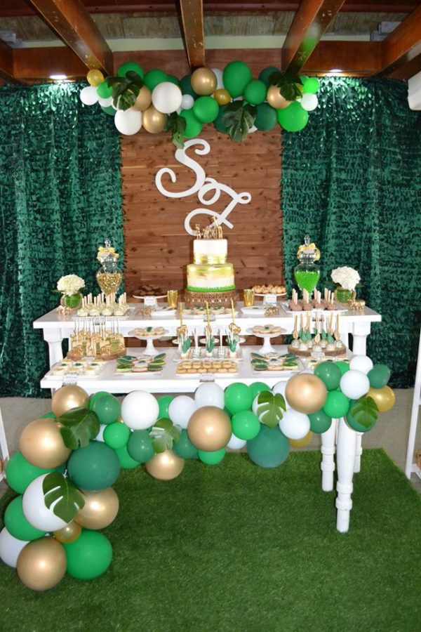 gold and hunter green safari baby shower - baby shower ideas - themes