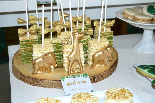 gold and hunter green safari baby shower