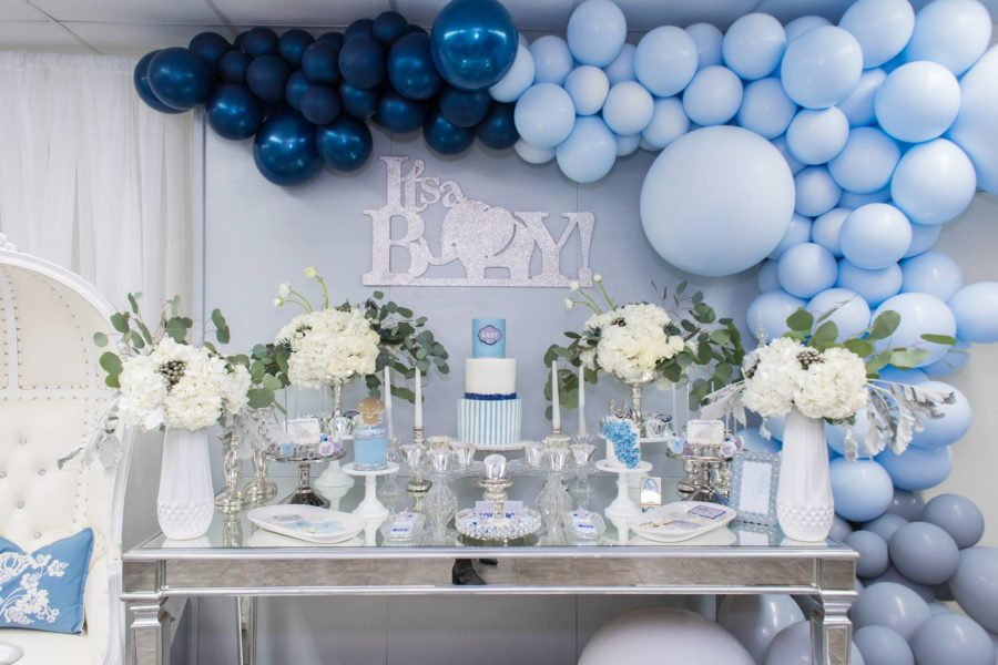 Blue And Silver Elephant Baby Shower Baby Shower Ideas Themes