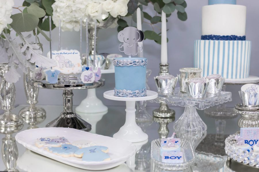 Blue And Silver Elephant Baby Shower Baby Shower Ideas