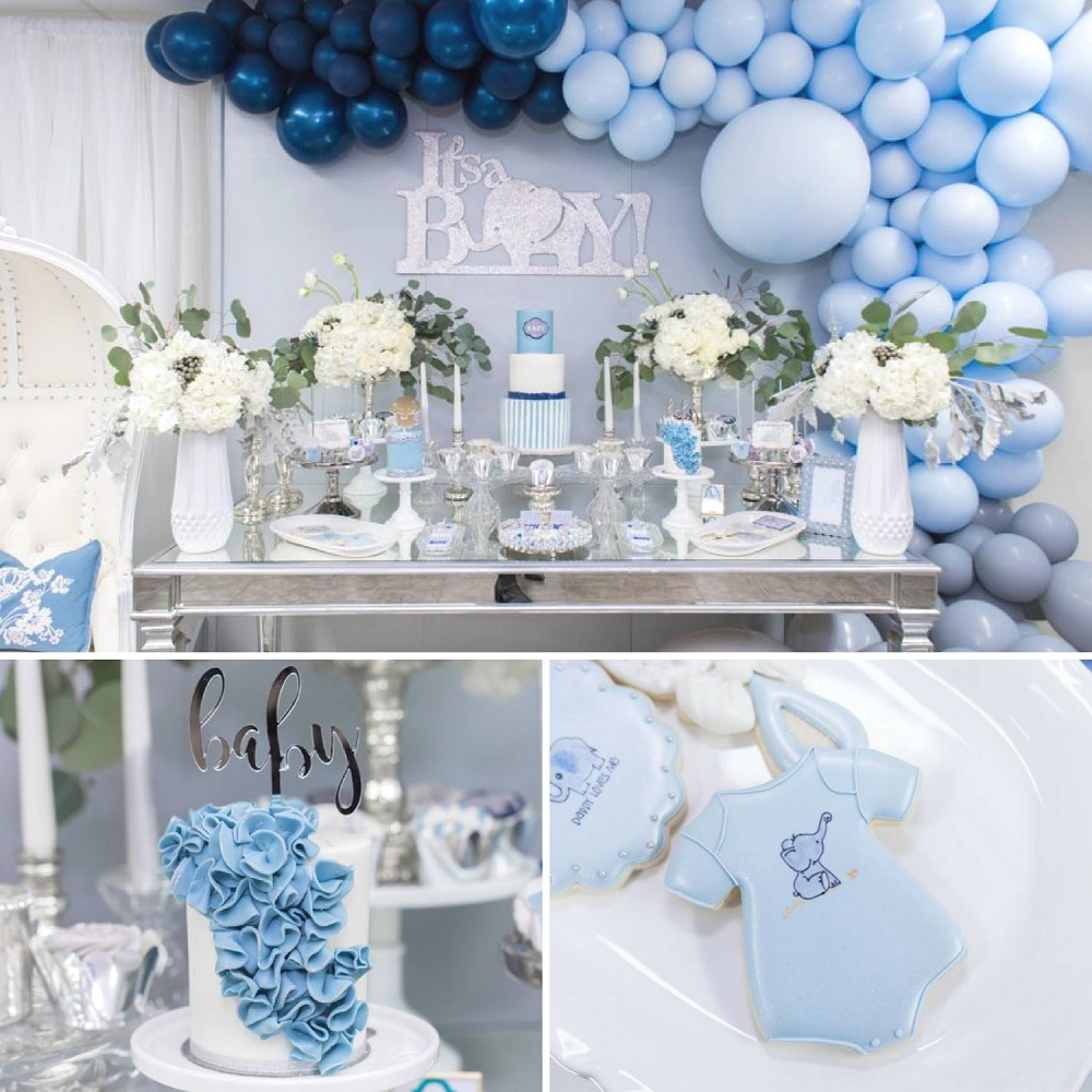 Elephant Themed Baby Shower: Blue And Silver Elephant Baby Shower