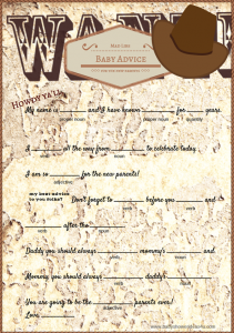 free baby shower mad libs game cowboy