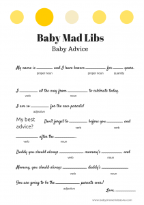 free baby shower mad libs game modern yellow