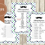 FREE Mustache Baby Shower Games