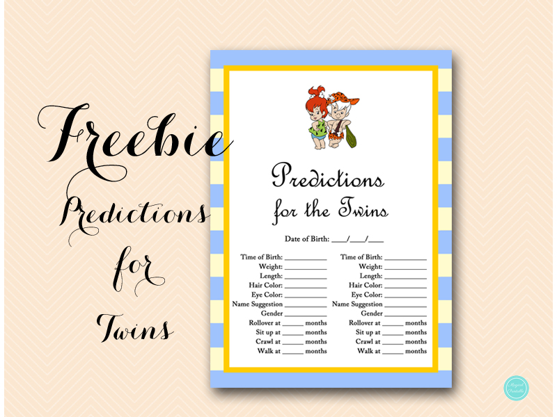 Free Predictions for the Twins - Baby Shower Ideas - Themes - Games