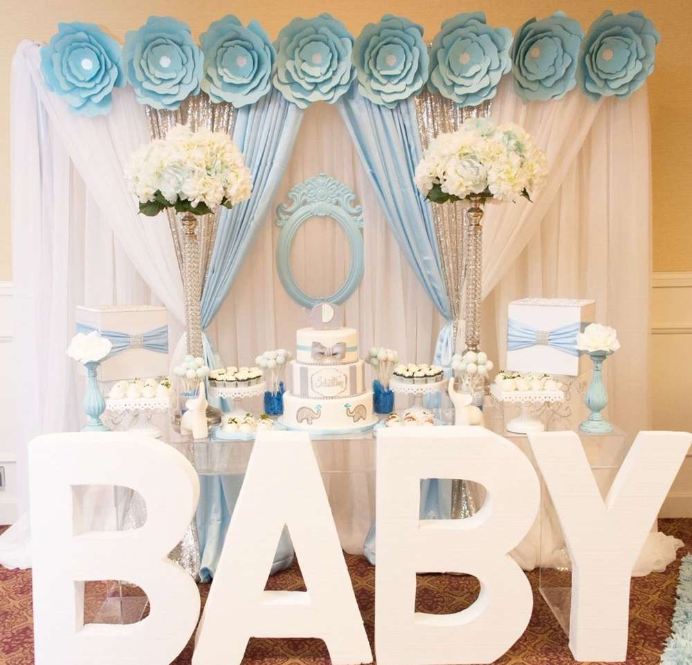 Ideal blue-and-white-elephant-themed-baby-shower-dessert-table - Baby  XZ95