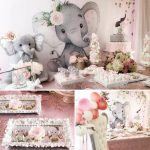 Pink And Gray Elephant Baby Shower