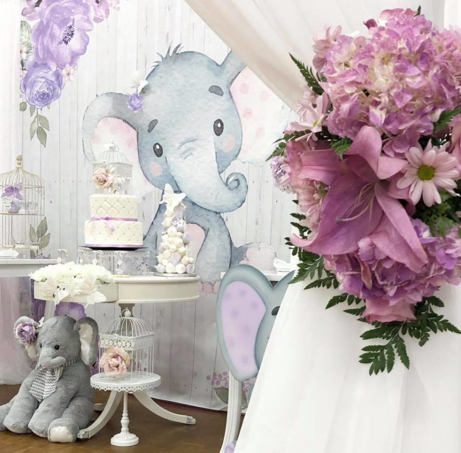 springtime-elephant-baby-shower-cake-table